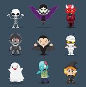 Halloween Character Big Head Set Cartoon Vector Illustration