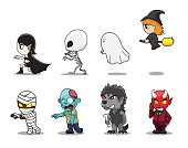 Halloween Character Big Head Side Set Cartoon Vector Illustration
