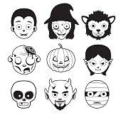 Halloween Character Heads Monochrome Cartoon Vector Illustration
