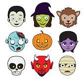 Halloween Character Heads Stroke Cartoon Vector Illustration