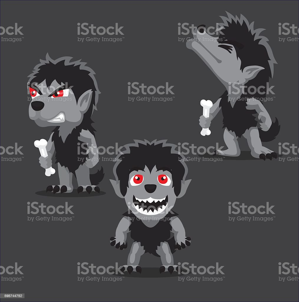 Halloween Character Set Cute Werewolf Cartoon Vector Illustration vector art illustration