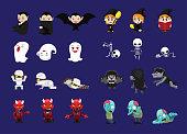 Halloween Character Three Poses Cartoon Vector Illustration