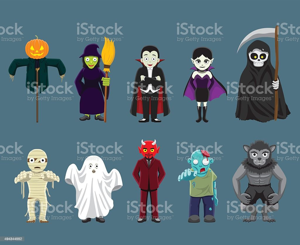 Halloween Characters Cartoon Vector Illustration vector art illustration