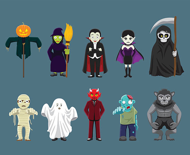 Halloween Characters Cartoon Vector Illustration Halloween Characters Set EPS10 File Format werewolf stock illustrations