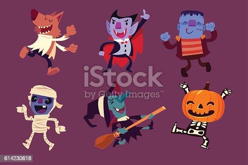istock Halloween characters dancing in party 614230618