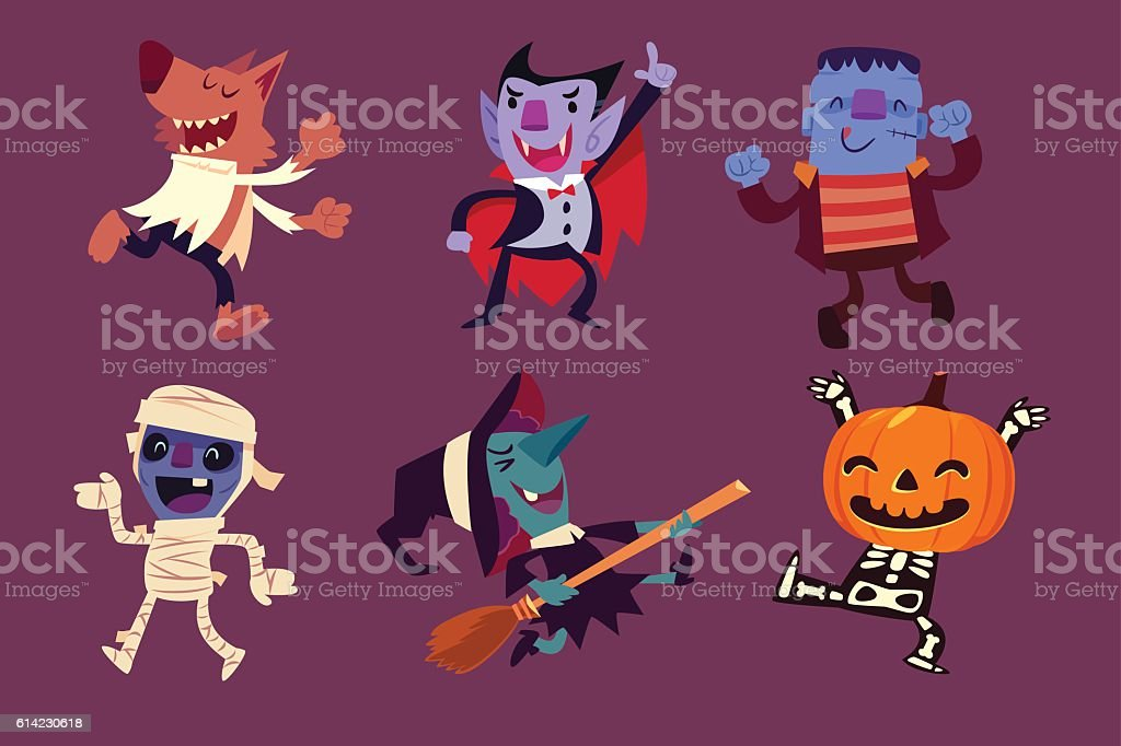 Halloween characters dancing in party vector art illustration