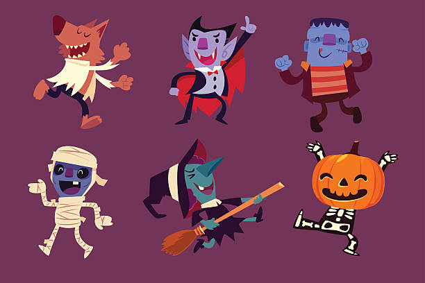 Halloween characters dancing in party - ilustración de arte vectorial