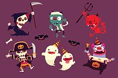 set of halloween characters doing funny dance in party