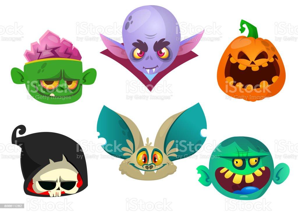 Halloween Characters Icon Set Cartoon Heads Of Grim Reaper