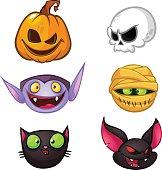 Halloween characters icon set. Cartoon heads of pumpkin, death, vampire, mummy, witch cat, bat