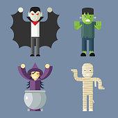 Halloween Characters Icons Set on Stylish Background Modern Flat Design