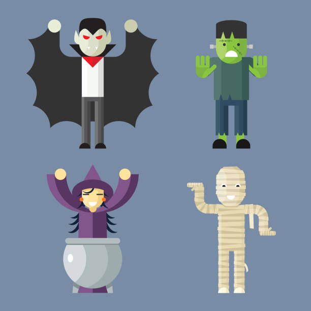 halloween characters icons set on stylish background modern flat design - frankenstein stock illustrations
