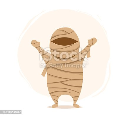 Halloween characters. Mmummy isolated on white background.