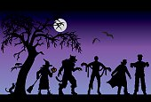 Halloween characters on a purple background