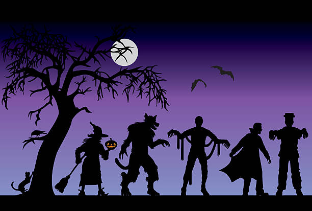 halloween characters on a purple background - frankenstein stock illustrations