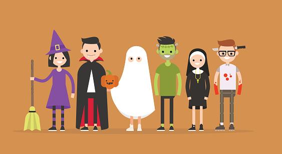 Halloween characters set: witch, Dracula, ghost, Frankenstein, nun, maniac / flat editable vector illustration, clip art