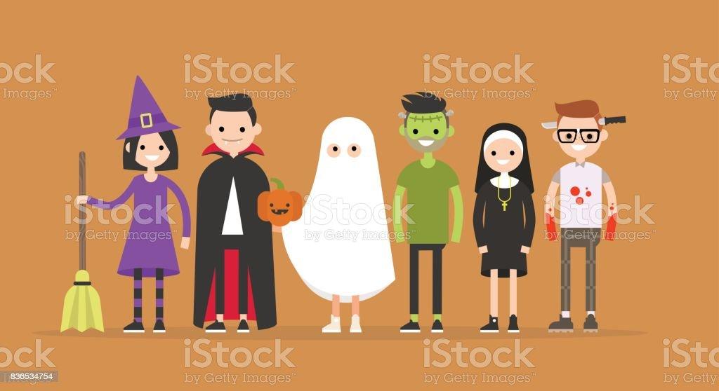 Conjunto de personajes de Halloween: bruja, Drácula, fantasma, Frankenstein, monja, maníaca / plano editable vector Ilustración, imágenes prediseñadas - ilustración de arte vectorial