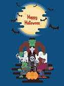 Halloween character group standing under glowing moon and clouds at night with bats in simple cartoon style