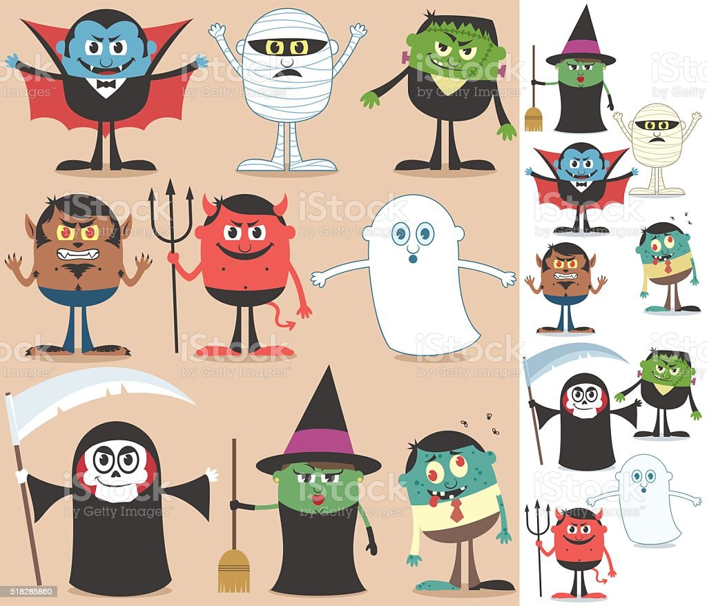 Halloween Characters vector art illustration