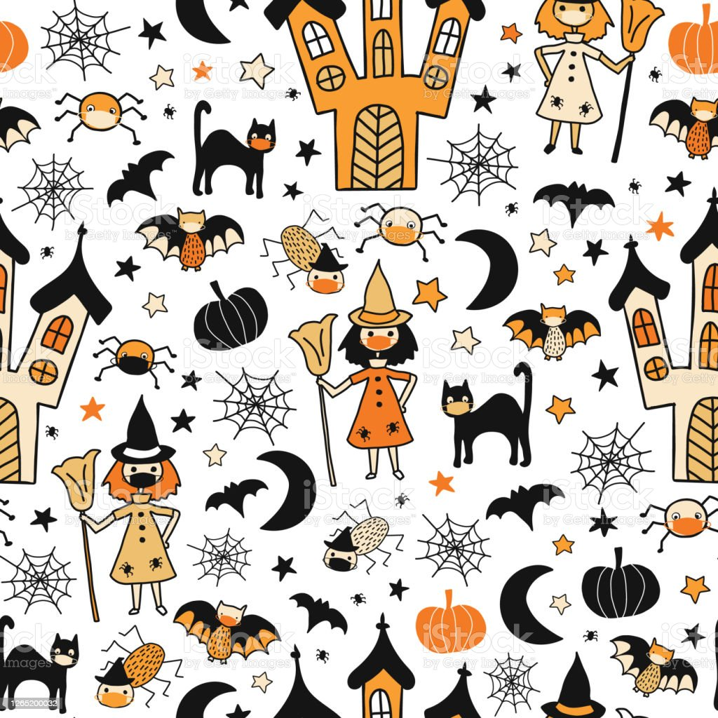 Halloween 2020 Cards For Kids Halloween Characters Wearing Face Masks Seamless Vector Pattern