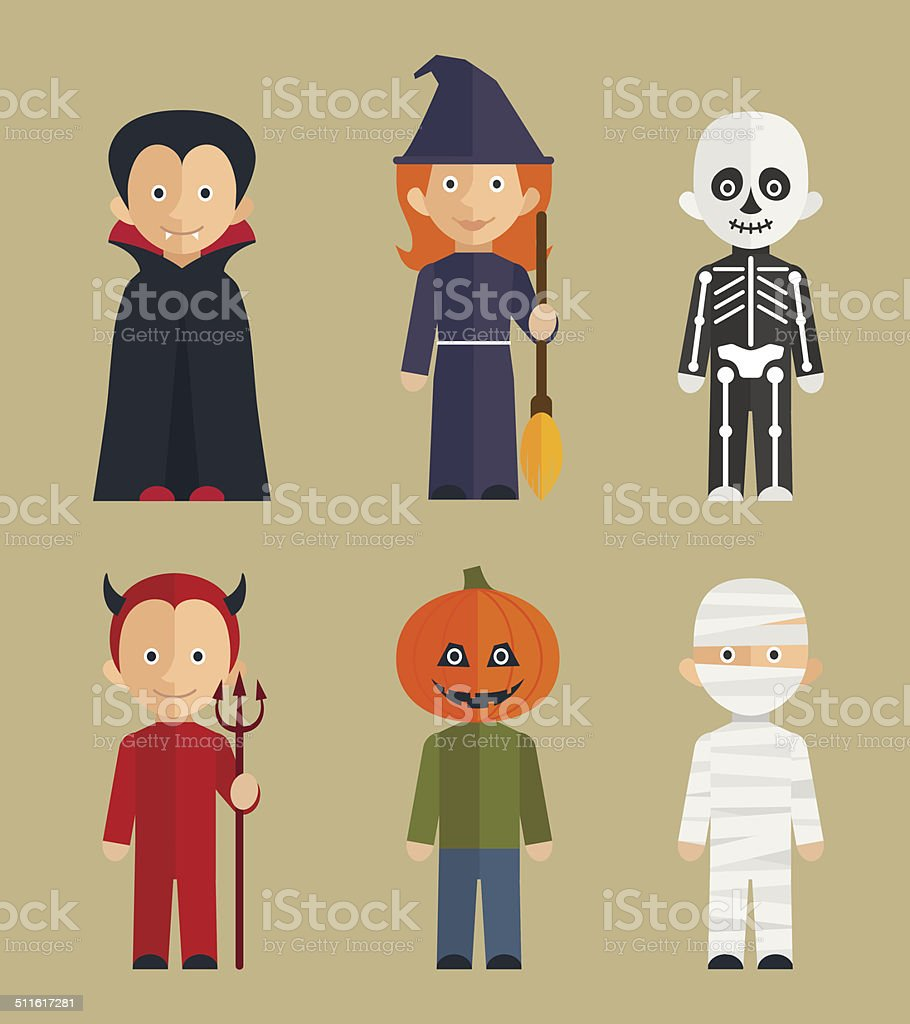 Halloween children characters / flat icons set vector art illustration