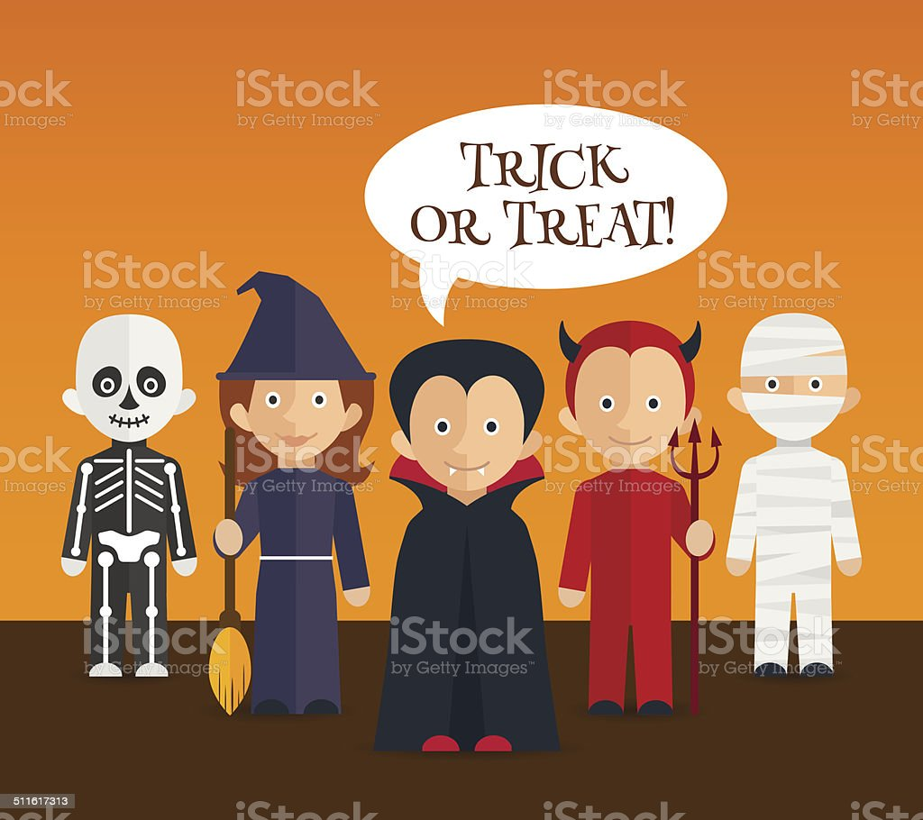 Halloween children characters / flat poster / banner vector art illustration