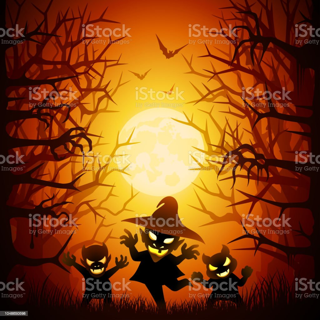 Halloween Children Trick or Treat vector art illustration