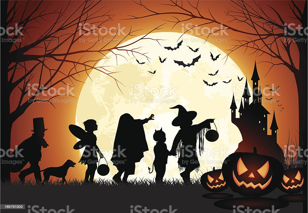 Halloween Children trick or treat vector art illustration
