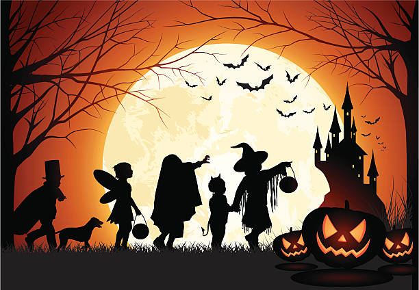 halloween children trick or treat - halloween stock illustrations, clip art, cartoons, & icons