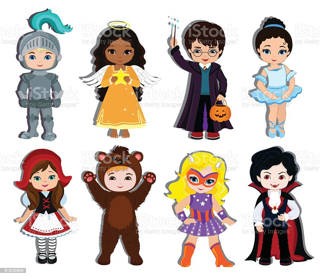 Halloween children trick or treating in Halloween costume. vector art illustration