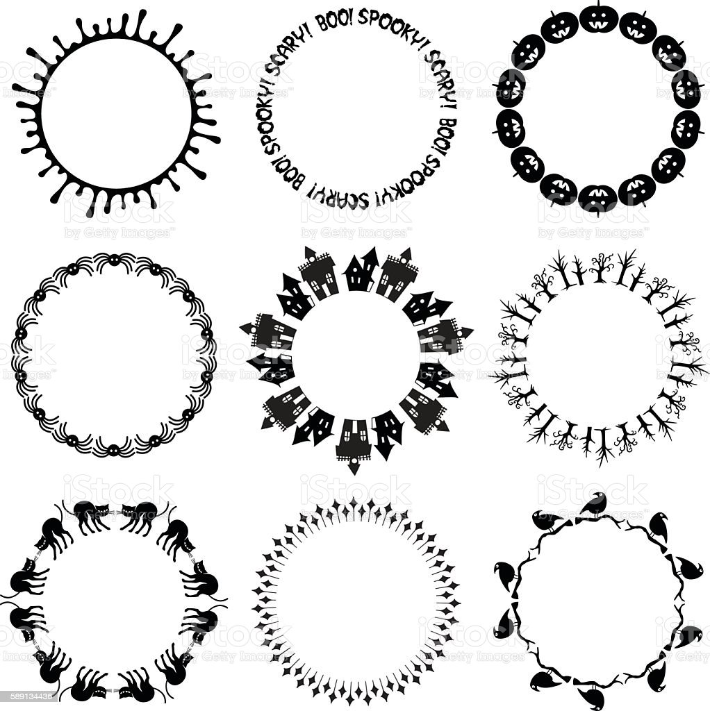 halloween circle frames stock vector art & more images of animal