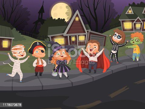 Halloween city. Kids costumes night horror scary halloween party urban landscape creepy monsters walking vector. Halloween party horror, vampire and dracula walking on night city illustration