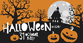 Halloween classic colors black orange, party invitation, banner background, hand drawing vector