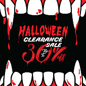 Halloween Clearance Sale Vol.3 30 percent heading design for banner or poster. Sale and Discounts Concept.