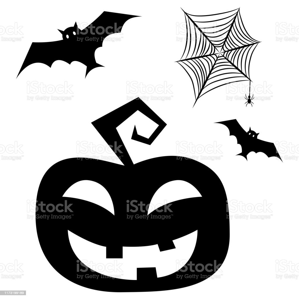 Halloween Clipart Elements With Bats Pumpkin And Spider Net Stock Illustration Download Image Now Istock