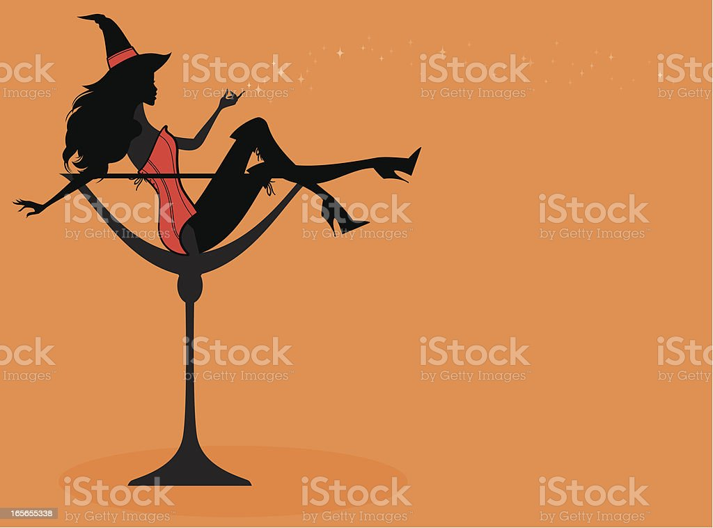 Halloween Cocktail Girl vector art illustration