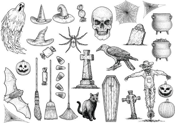 halloween collection illustration, drawing, engraving, ink, line art, vector - tombstone stock illustrations