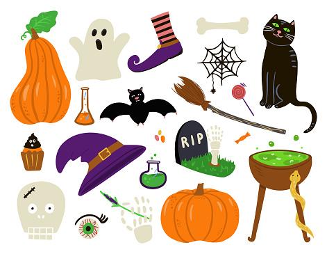 Halloween collection. Pumpkin, scull, black cat