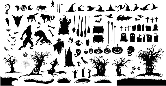 Halloween collection, witch, wizard attributes, creepy and spooky elements.