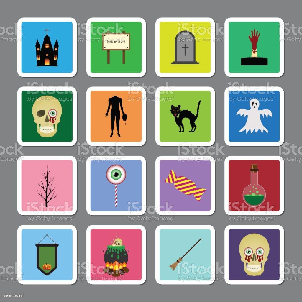 Halloween Color Square Sticker Icon Set stock vector art 854241044 ...