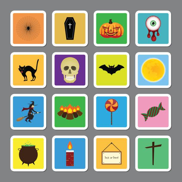 halloween color square sticker icon set - vegetable blood stock illustrations, clip art, cartoons, & icons