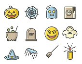 Halloween colored icons set. Linear signs collection. Vector illustration