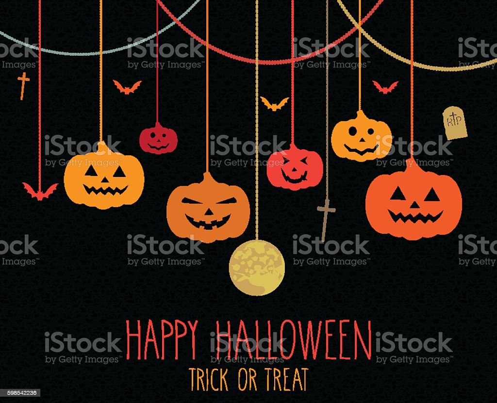 Halloween colorful poster. Hanging colorful pumpkins halloween colorful poster hanging colorful pumpkins – cliparts vectoriels et plus d'images de abstrait libre de droits