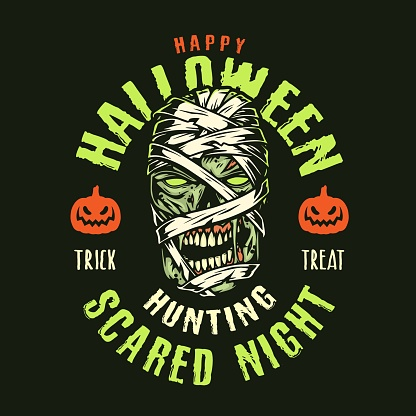 Halloween colorful vintage logotype