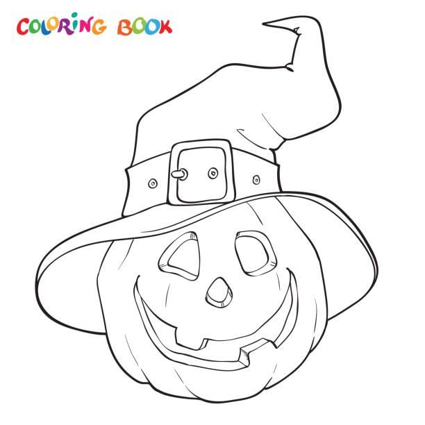 할로윈 색칠 공부 책입니다. 모자에서의 호박 - 색칠하기 stock illustrations