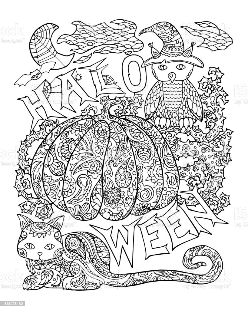 Halloween Coloring Page With Pumpkin Halloween Vector Illustration With Owl Cat Spider Stock Illustration Download Image Now Istock