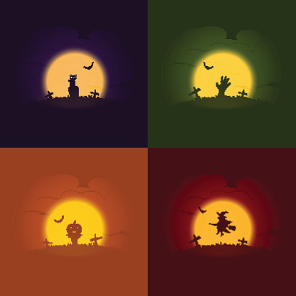 Halloween Concepts, Set of vector illustration, Cat, Zombie hand, Pumpkin scarecrow, Witch