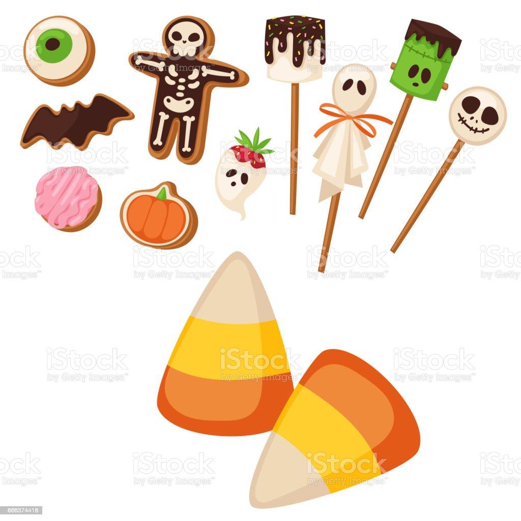 Halloween cookie symbols of food night cake party trick or treat halloween cookie symbols of food night cake party trick or treat candies vector illustration royalty biocorpaavc Images