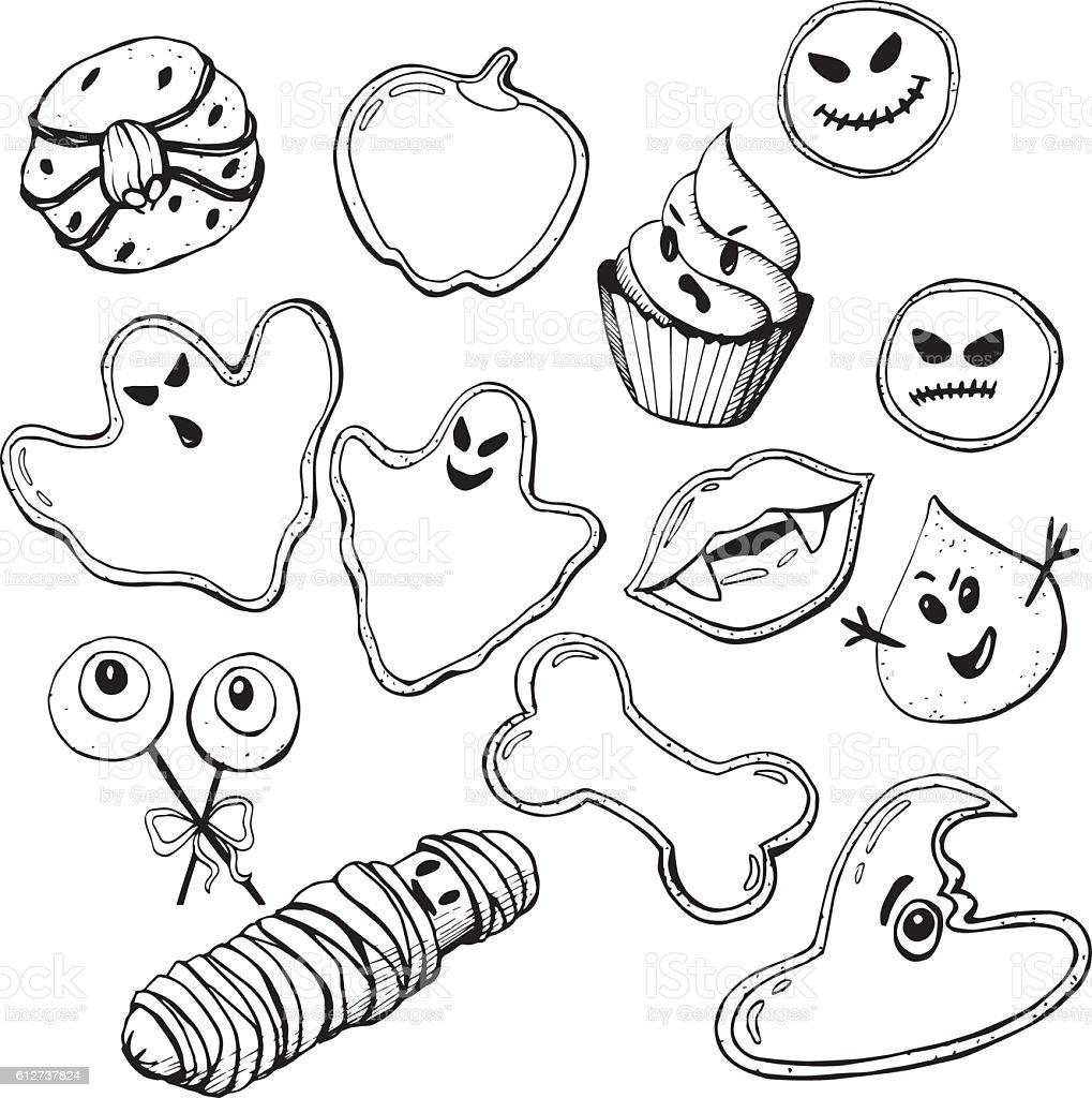 Halloween Cookies 0 vector art illustration