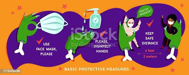 istock Halloween Coronavirus  social infographic  banner with COVID-19 protection 1279409438